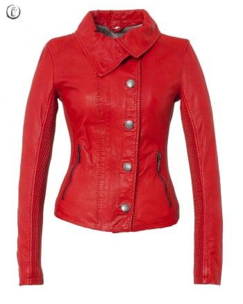 blouson cuir femme oakwood rouge
