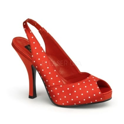 chaussures pin up rouge poids blancs